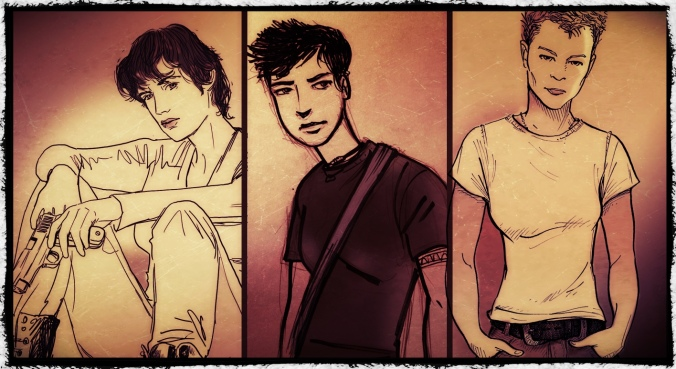 My drawings of Luca, Zak, and Jill.