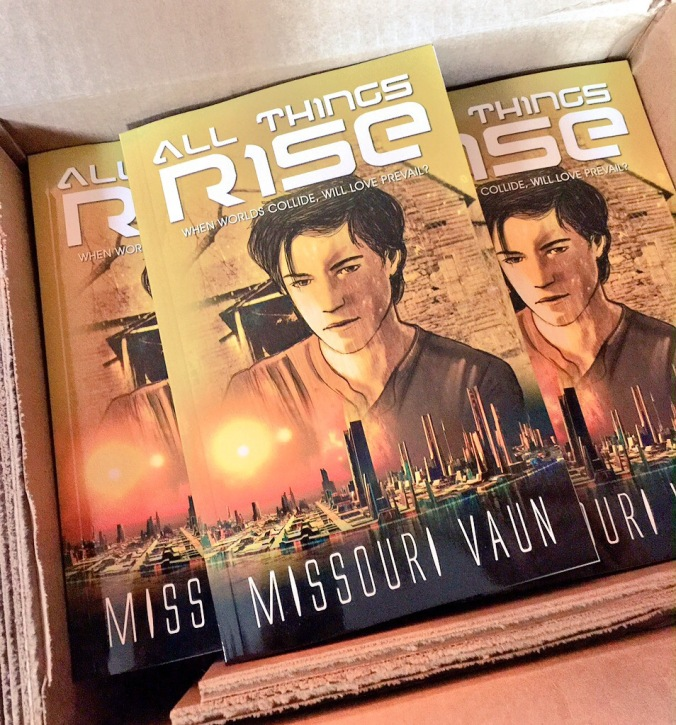 Box of All Things Rise advance copies.